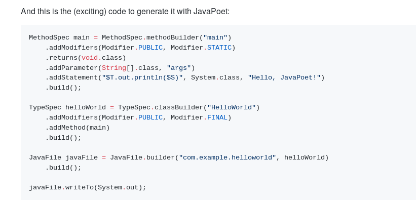 javapoet syntax example