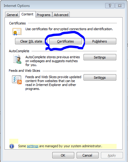 Internet Explorer access to certificates