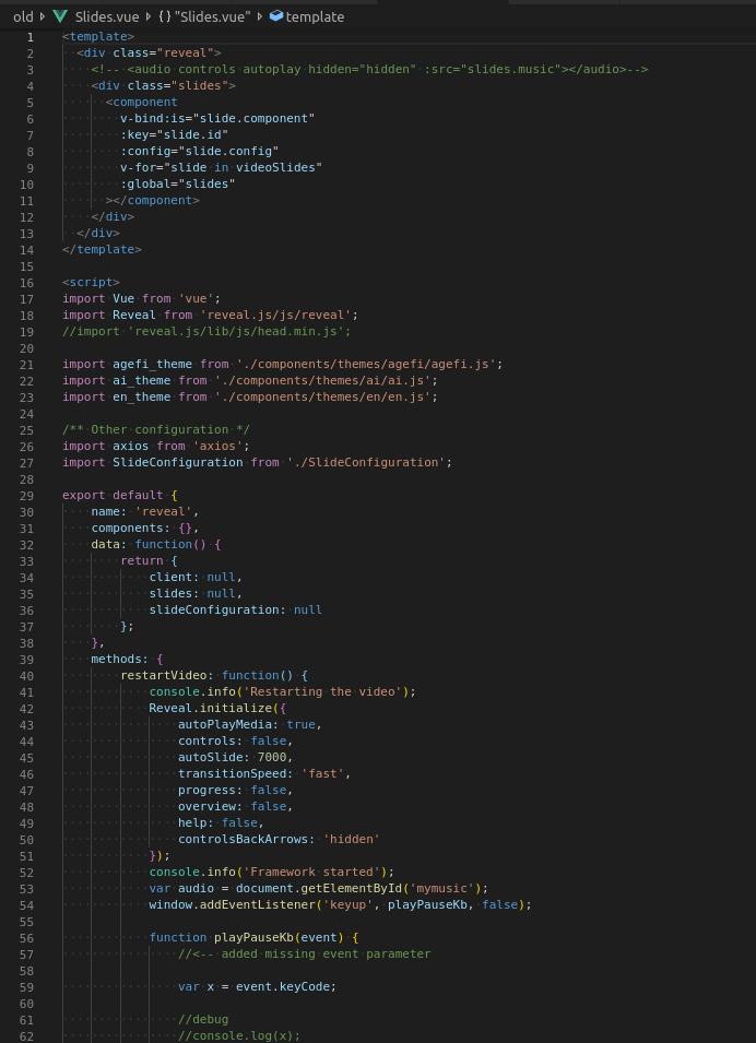 Slideshow code using Reveal.js