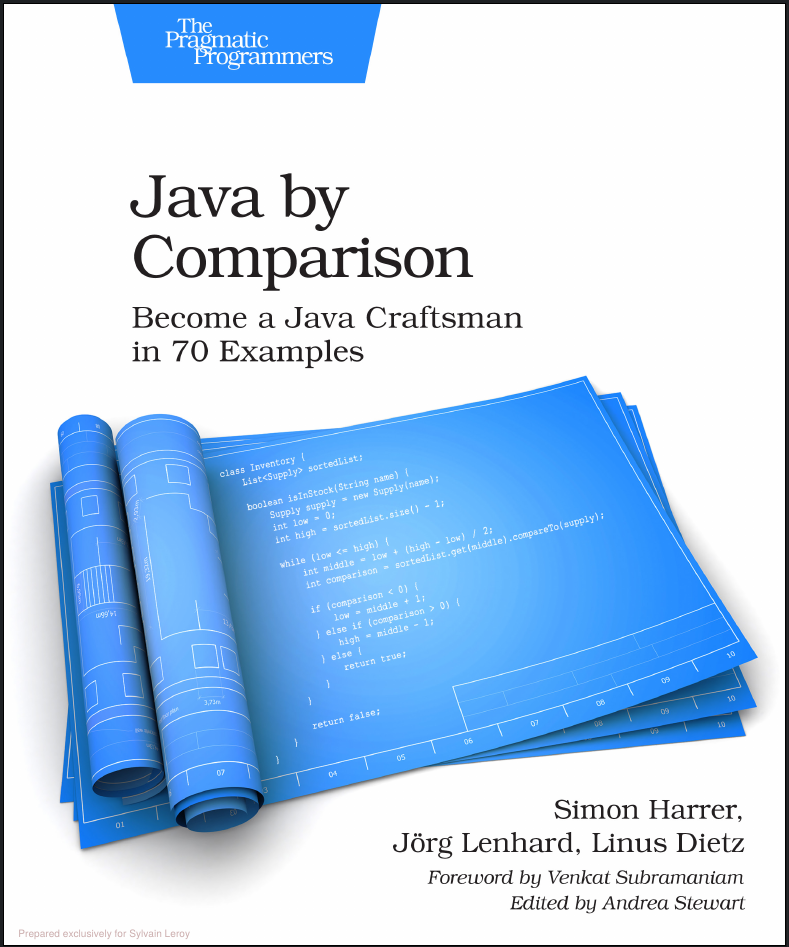Book Review : Java by comparison,  how to improve your coding skills and produce quality code.