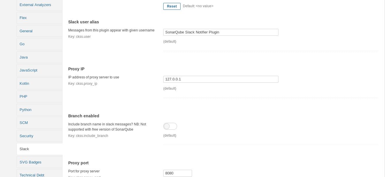 Slack SonarQube  plugin screenshot