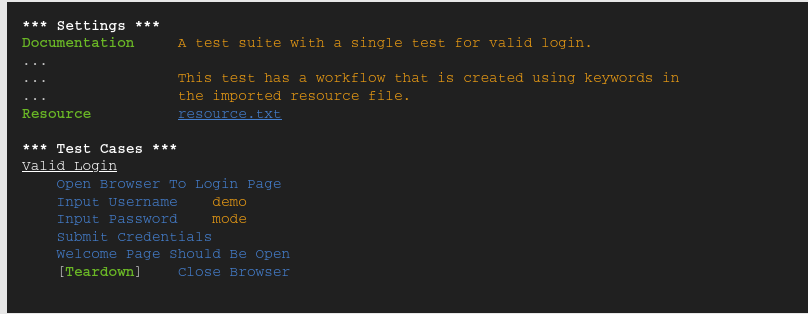 RoboFramework : code